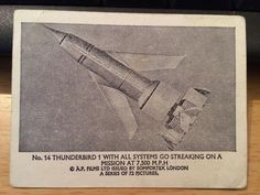 "A  ""SOMPORTEX"" trading card, depicting elements from the Gerry Anderson TV series, THUNDERBIRDS."