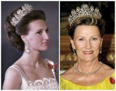Depuis son mariage, la Princesse Sonja devenue Reine est seule à porter la parure de diamant ainsi que celle d'émeraude.