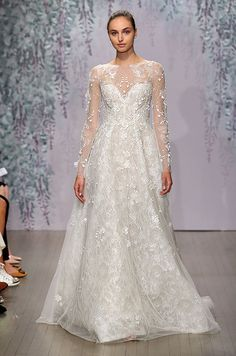 A-line lace wedding dress with illusion neckline and long sleeves. Monique Lhuillier Fall 2016 Bridal Collection
