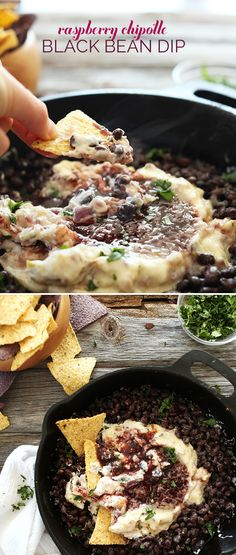 Raspberry Chipotle Black Bean Dip! #Vegan, 30 minutes and SUPER delicious! The perfect healthier appetizer for games and parties.