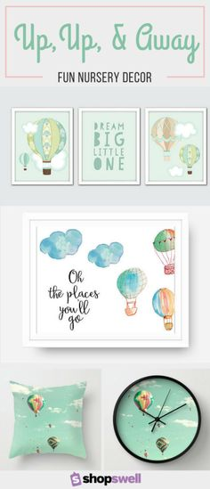 Kindergarten theme: the sky is the limit If you're looking for a gender neutral design for your baby's nursery, these hot air balloon decoration i Sky Nursery, Nursery Neutral, Nursery Themes, Nursery Prints, Nursery Room, Girl Nursery, Nursery Decor, Baby Room, Nursery Ideas