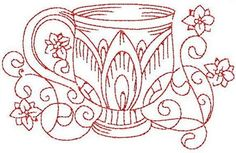 Redwork Teacup 2 Hand Embroidery 3 Sizes