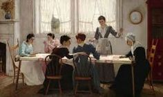 Quilting party by Edgar Melville Ward