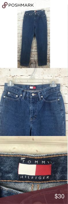 "Tommy Hilfiger Straight Leg High Waisted Mom Jeans Tommy Hilfiger Womens Vintage Med Wash Straight Leg High Waisted Mom Jeans, sz 4  Measurements:   Waist Laying Flat: 13"" Inseam: 32"" Tommy Hilfiger Jeans Straight Leg"