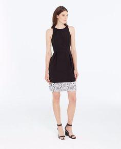 7272dc4818  149 Ann Taylor Black Ivory Pleated Canvas Lace Hem Sheath Dress 6 NEW A801   AnnTaylor