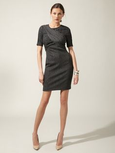 Tweed Shift Dress... cool fabrication and flattering diagonal empire lines