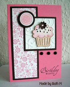 handmade birthday card ... pink and white with black accents ... cupcake ...