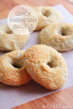 Quick parmesan bagels from The Baker Upstairs. If you think making homemade bagels is too hard, this is the recipe for you! These bagels are ready in about two hours, and so easy and delicious! www.thebakerupstairs.com