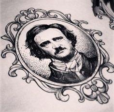 This is an awesome tattoo portrait of Edgar Allan Poe Edgar Allan Poe, Edgar Allen Poe Tattoo, Leg Tattoos, Flower Tattoos, Body Art Tattoos, Sleeve Tattoos, Gorillaz, Alex Tabuns, Framed Tattoo