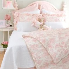 Isabella by Glenna Jean pink toile bedding 4 pc set - duvet, dust ruffle, gingham shams. $554.  3 weeks to deliver.