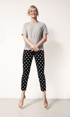 white dots capri pants