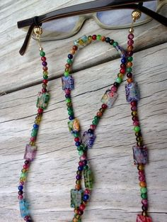 Eyeglass Chain, Millefiori Reading Glasses Chain, Colorful Eyeglass Holder Fashion Accessory, Beaded Lanyard - Bags and Purses 👜 Beaded Jewelry, Handmade Jewelry, Beaded Necklace, Necklaces, Do It Yourself Jewelry, Beaded Lanyards, Eyeglass Holder, Jewelry Crafts, Bracelets