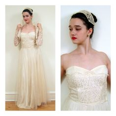 Vintage 1950s Lace Wedding Dress, Jacket and Headdress  / 50s Lace and Tulle Three Piece Bridal Gown