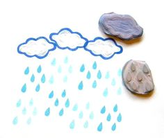 Fluffy cloud and rain drops hand carved rubber stamp set
