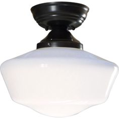 """Classic lighting fixture with milk glass schoolhouse 16 """" direct ceiling and pendant. Porch Lighting, Wall Sconce Lighting, Pendant Lighting, Classic Lighting, Modern Lighting, Custom Lighting, Shop Lighting, Bathroom Ceiling Light, Ceiling Lights"""