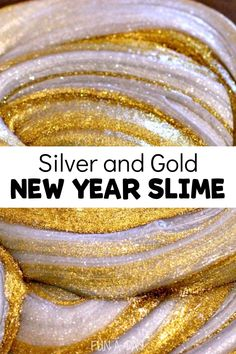 This sparkly gold and silver DIY slime (with no borax!) is full of the things kids love - fun and glitter! Use it for New Years as part or a pirate theme or just for some sparkly fun! Sensory Activities For Preschoolers, New Years Activities, Creative Activities For Kids, Indoor Activities For Kids, Toddler Activities, Toddler Games, Creative Play, Summer Activities, Family Activities