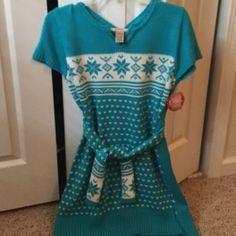 Girls plus size sweater/tunic/dress Teal sweater dress/tunic. Brand new Arizona Jean Company Dresses