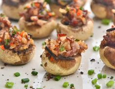 Thanksgiving side dish: Healthier stuffed mushrooms (is that bacon, I see?!)