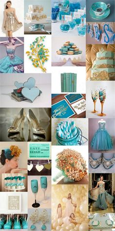 Teal Turquoise Gold Wedding Theme Inspiration