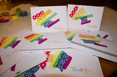 Sowdering About in Seattle: Washi Thank you cards for kids to make