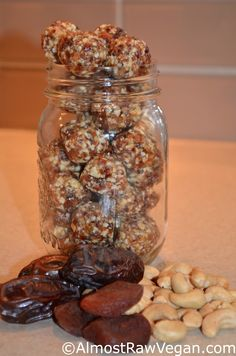 AlmostRawVegan.com - I'm thinking it's time for another batch of Chewy Cashew Balls... What do you think?  ♡♡