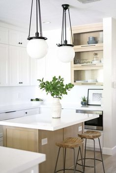 One Room Challenge Week 8 - The Kitchen Reveal — Glynis Steider Microwave Vent Hood, Counter Stools, Bar Stools, Hale Navy, Oak Stain, Challenge Week, Upper Cabinets, White Quartz, Cabinet Knobs
