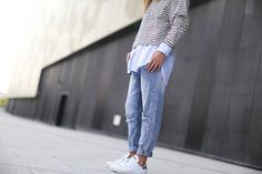 Saturday style! Relaxed boyfriend jeans, striped sweater and Adidas Stan Smith's.