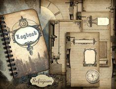 steampunk notebook Logbook  INSTANT DOWNLOAD  by digitalRefugium