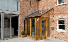See this entrance porch design Porch Uk, Cottage Porch, Side Porch, House With Porch, House Front, Side Door, Garden Room Extensions, House Extensions, Porch Glazing