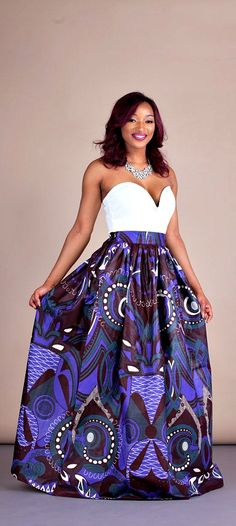 """Limited Royal Purple Skirt. Relaxed yet sophisticated and, best of all, universally flattering – just look how it nips in the waist – a full, high waisted skirt is an instant game-changer with two side pockets and approximately 2"""" waist band.    Ankara 