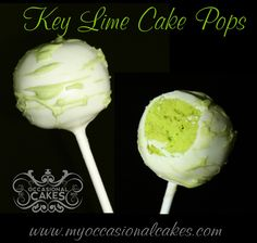 """Key Lime Cake Pops - key lime cake (colored """"electric green"""") dipped in white chocolate"""
