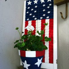 American Flag shutter and flower pot! Awesome!!! I found my shutter with the flag!!