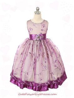 Purple Embroidered Organza Flower Girl Dress