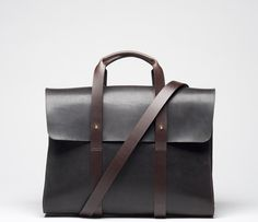 CHERCHBI Barrett Flap Brief in Oiled Leather front with strap