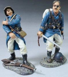 French Foreign Legion FFL004B Officer with Sword & Wounded Officer with Pith Hat - Made by Thomas Gunn Military Miniatures and Models. Factory made, hand assembled, painted and boxed in a padded decorative box. Excellent gift for the enthusiast.