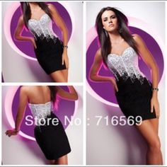 Black and White Party Dress Black and white sequined party dress. Great for holiday party or New Year's eve. Built in bra. Dresses Strapless