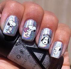 snoopy decal nails