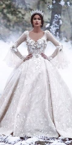 Wedding Ideas wedding ideas part 2 ball gown long sleeve floral embellishments bridal dresses - There are wedding dresses, and then there are the BEST wedding dresses. Fashion wedding gowns from the most popular bridal designers here. Disney Wedding Dresses, Disney Dresses, Princess Wedding Dresses, Dream Wedding Dresses, Bridal Dresses, Wedding Gowns, Queen Wedding Dress, Wedding Disney, Bhldn Wedding