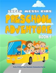 $16.00 Super Messianic Kids Preschool Adventure LETTERS A-I are taught in this book. Handwriting/Penmanship Patterns, Graphing, Counting, Ordering Letter recognition & Visual discrimination Puzzles and Crafts Colors and Shapes Games Cutting, Gluing, and Lacing Activities Mini-books: Character Lessons Bible Heroes Stories & Coloring Pages Scripture verses throughout.