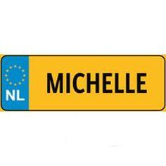 Nummerbord met naam - Michelle - € 1,- tm € 5,- - Op prijs - FUNpost.nl