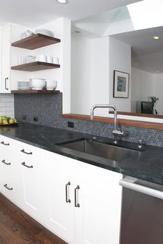 BLACK BACKSPLASH + COUNTERTOPS | Noe Valley remodel - modern - kitchen - san francisco | Mason Miller