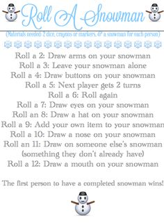 Roll-A-Snowman {Easy Dice Game & Printable} from Blissful Roots Christmas Tree Game, Christmas Party Games, Xmas Party, Christmas Activities, Christmas Printables, Family Christmas, Christmas Traditions, Winter Christmas, All Things Christmas
