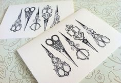 Vintage Sewing Card Set Note Cards Stationary Set by PikakePress, $10.00