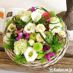 三栗野 真平:circle 参考花材 バラ、モカラ、カラー、トルコキキョウ、ピンポンマム、ヒペリカム等 花器:バスケット
