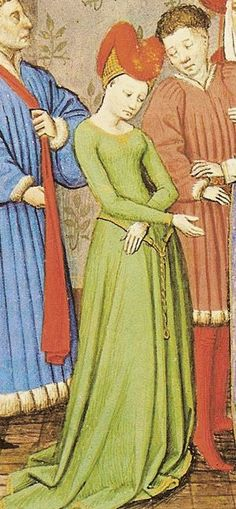 This showcases both men and women's dress during the late Middle Ages. This also shows a kirtle, which was an under garment worn by men and women. Medieval Hats, Medieval Life, Medieval Costume, Medieval Dress, Medieval Fashion, Medieval Clothing, 15th Century Fashion, 14th Century Clothing, 15th Century Dress