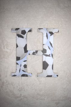 Soccer Nursery Letter H,Custom Boy Nursery Letter,Hanging Monogram Nursery Letter,Baby Name,Nursery Wall Letter,Wall Decor,FREE SHIPPING by AaliyahsLetters on Etsy