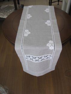 lacework & linen table runner