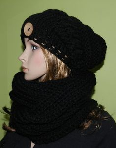 548c0e6e Christmas gift Soft Chunky Winter Slouchy Hat And Tube Scarf Set, Trendy  Teen/Women Winter Set in Black , Christmas Gift,Teen/ Women