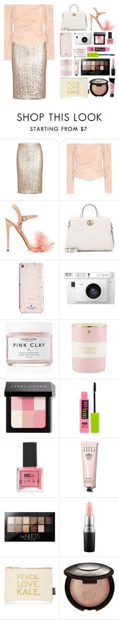 """""""5.333"""" by katrina-yeow ❤ liked on Polyvore featuring Alice + Olivia, Balmain, Gucci, Kate Spade, Lomography, Herbivore, Bobbi Brown Cosmetics, Maybelline, ncLA and MAC Cosmetics"""