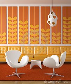 Illustration about Retro interior design in orange and yellow colors with two white chairs in front. Illustration of seat, interior, design - 9919660 Retro Interior Design, Mid-century Interior, Orange Interior, Retro Design, Interior Design Inspiration, Interior Decorating, Camper Interior, Ad Design, Room Inspiration